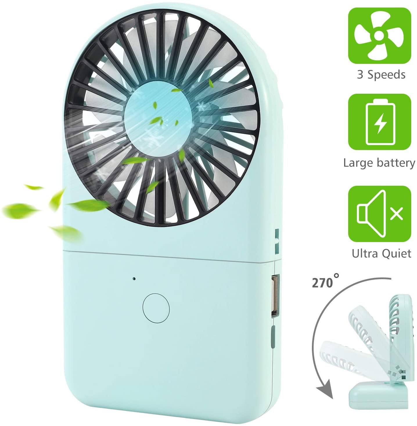 Portable Handheld Fan, Mini Personal Fan USB Rechargeable Battery Operated Fan, 3 Speed Desk Fan Small Foldable Neck Fan with Lanyard for Women Men Outdoor Travel Office Camping Room Car, Green