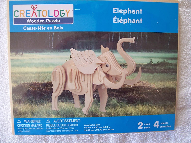Creatology Wooden Puzzle ~ Elephant (4 Sheets, 2 Eyes)