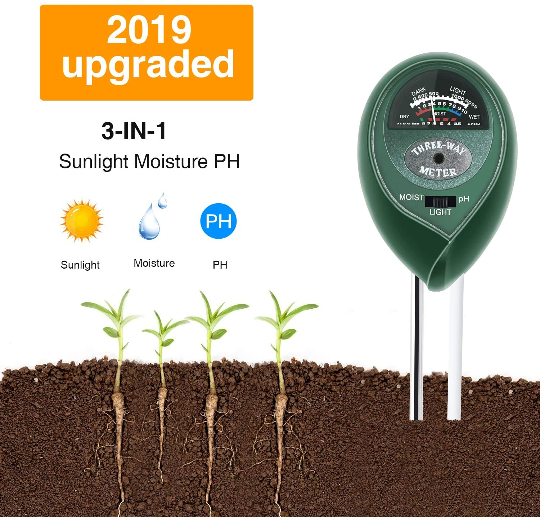 SleeBas Soil Test Kit,pH Moisture Light Tester 3-in-1 Soil Meter for Garden,Farm,Lawn,Trees,Vegetable(No Battery Needed) Green