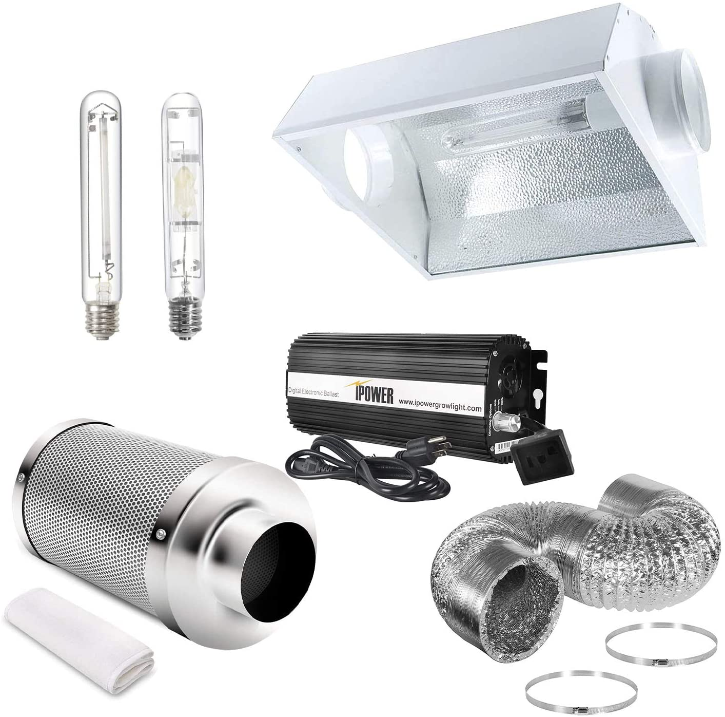 iPower 6 Inch Cooled Reflector Hood Air Carbon Filter 8 Feet Ducting Combo with 400 Watt Bulbs and Digital Dimmable Electronic Ballast, for HPS & MH Grow Light System, Kits