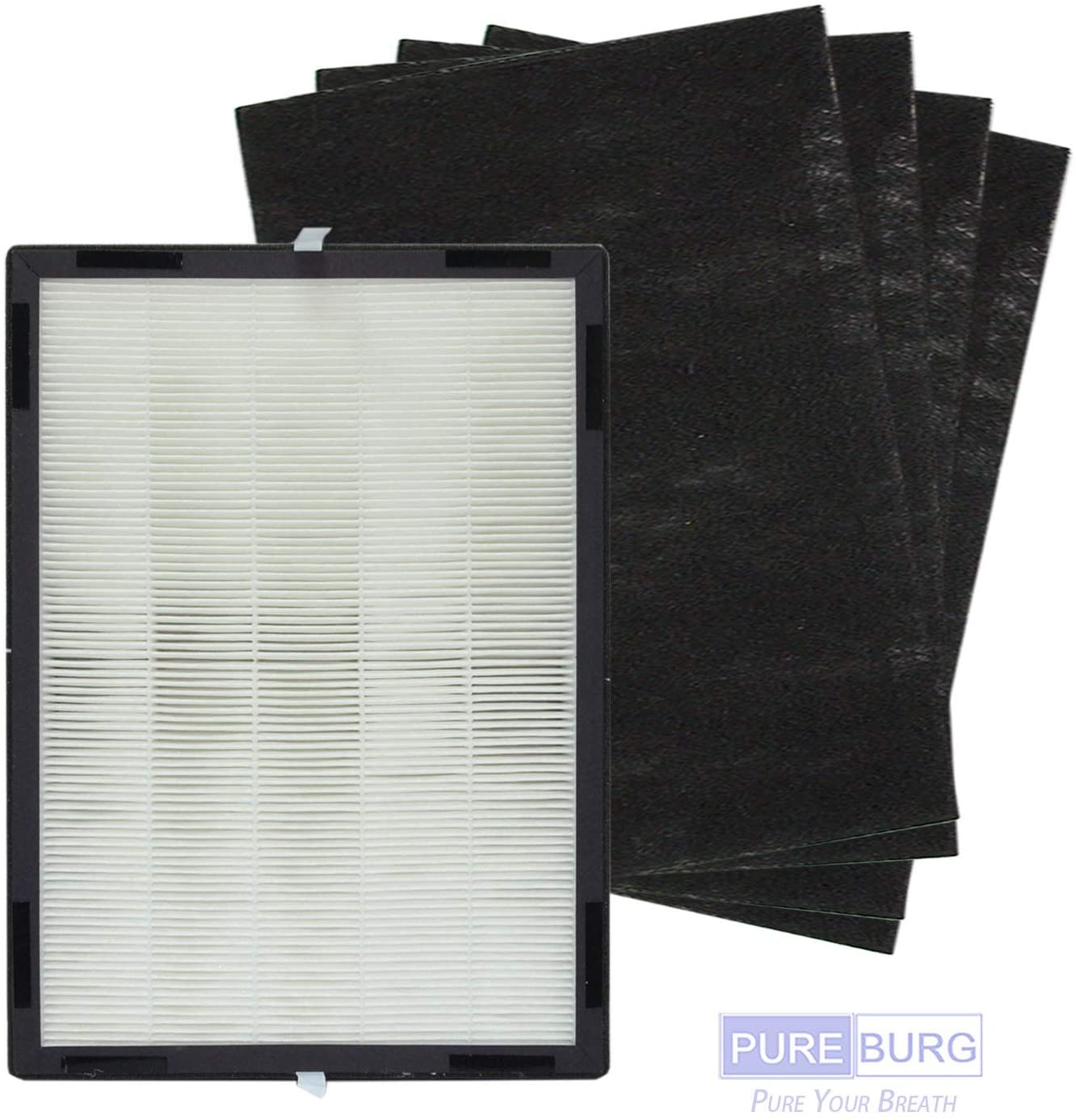 PUREBURG Replacement 1 x HEPA Filter and 4 x Carbon Pre-Filters Compatible with Hunter H-HF700-VP H-PF700 Fits Hunter HP700 Medium Console Air Purifiers