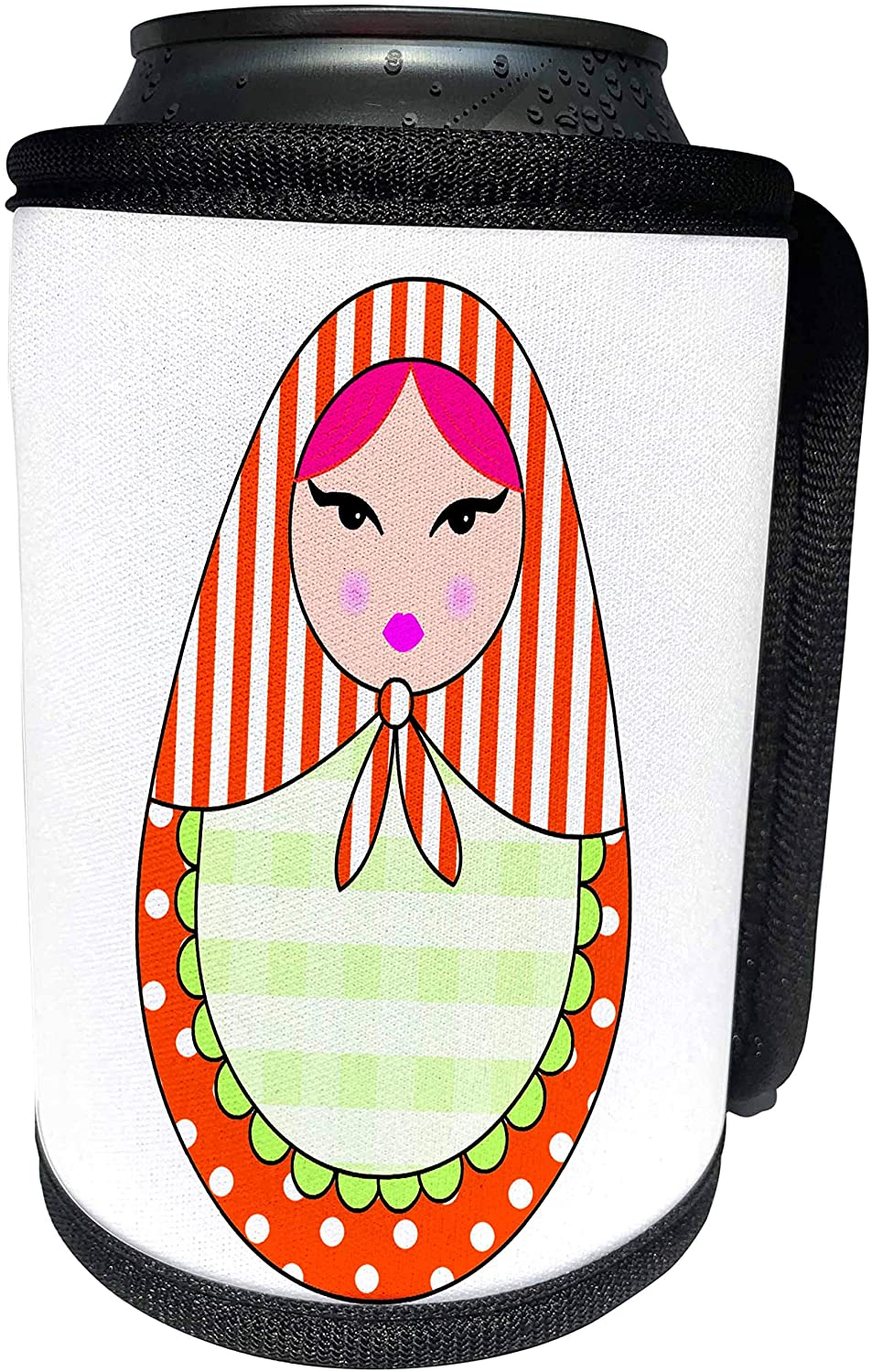 3dRose Janna Salak Designs Dolls - Cute Russian Matryoshka Nesting Doll Pink Hair - Warm Colors White - Can Cooler Bottle Wrap (cc_58637_1)