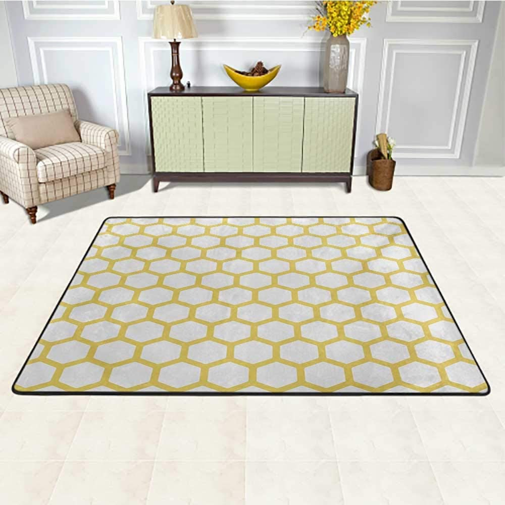 Yellow and White Kids Area Rugs 4' x 6', Hexagonal Pattern Honeycomb Beehive Simplistic Geometrical Monochrome Kids Play Rug, Yellow White