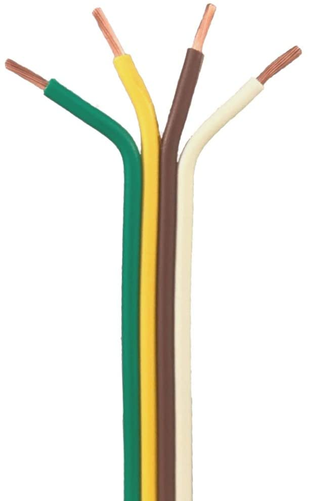 4 Conductor Trailer Cable, Bonded 16 AWG GPT, White-Brown-Yellow-Green PVC Wires, 6' Length