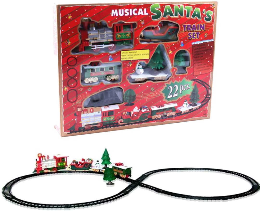 HMANE Christmas Rail Train Set with Music Mini Simulation Electric Train Toy