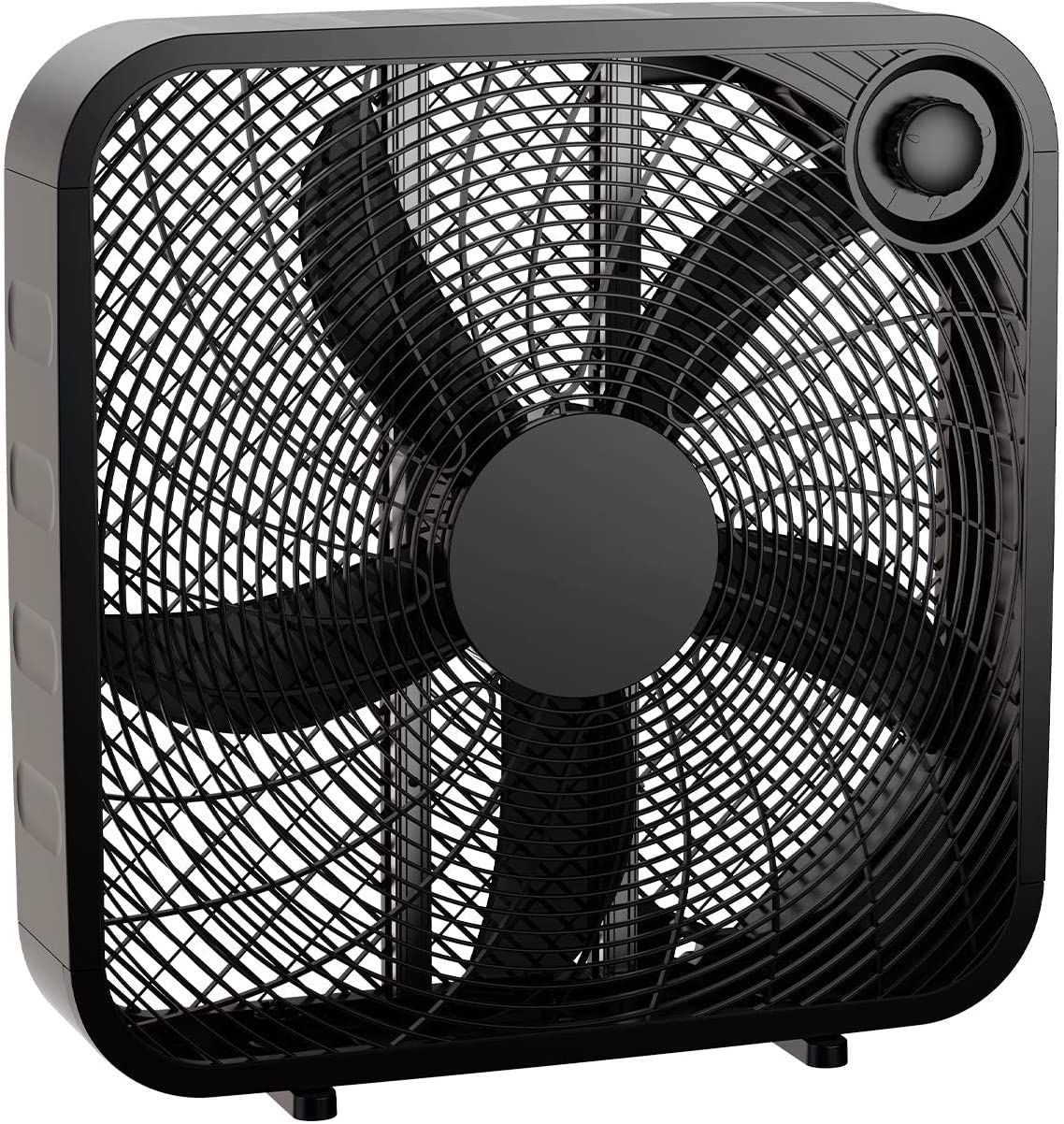 XKRSBS 3-Speed Box Fan for Full-Force Circulation with Air Conditioner, Black, 2020 New Model