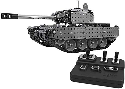 Xuess Educational Toys Gift Metal Module Assembly Remote Control Tank Stunt Car Rc Military Model Vehicle, Wireless Remote Control Tank Car
