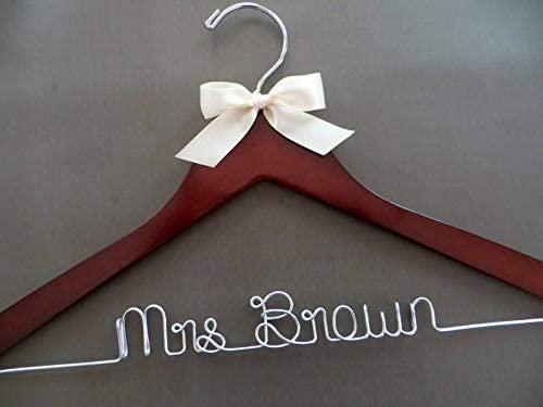 Flowershave357 Personalized Hanger Wedding Hanger with Bow Satin Bow Bridal Hanger Bridesmaid Gift Idea Wedding Coat Hanger Engagement Gift