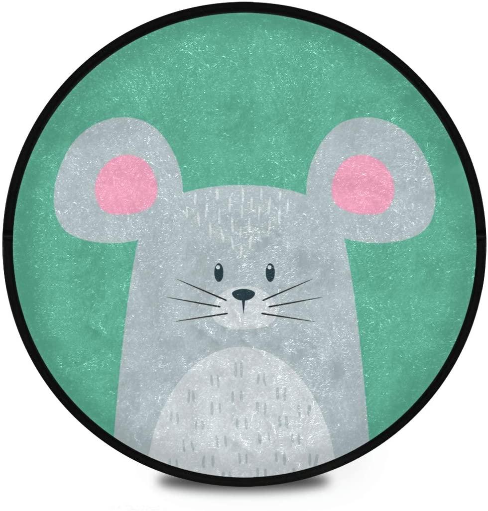 Shaggy Round Mat Cute Cartoon Animal Mouse Bedroom Carpet for Kids Bathroom Anti-Slip Rug Room Carpets Play Mat