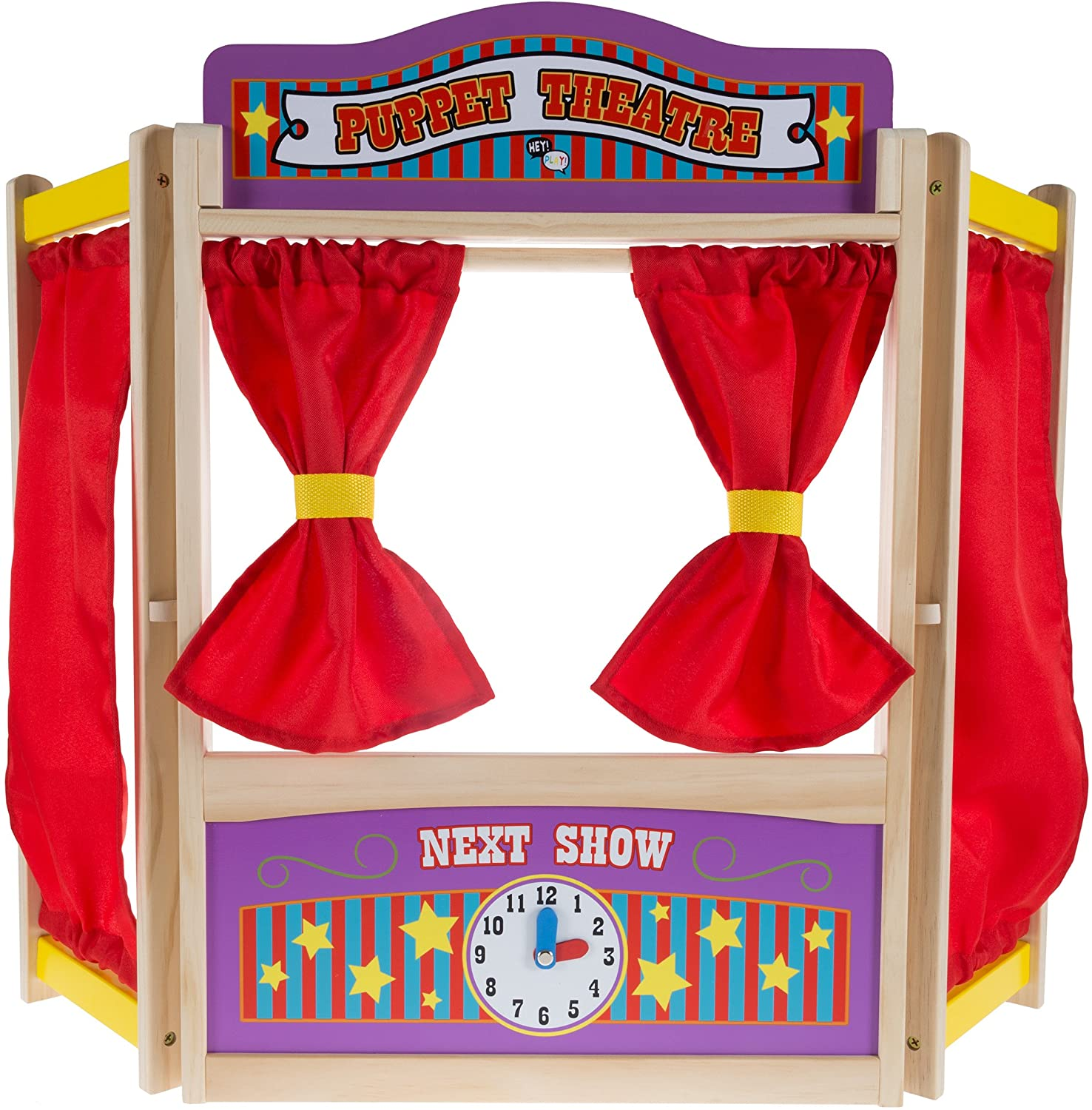 Hey! Play! Wooden Tabletop Puppet Theater with Curtains, Blackboard, and Clock- Inspires Imagination and Creativity for Kids, Boys and Girls, Multicolor (80-HCH212)