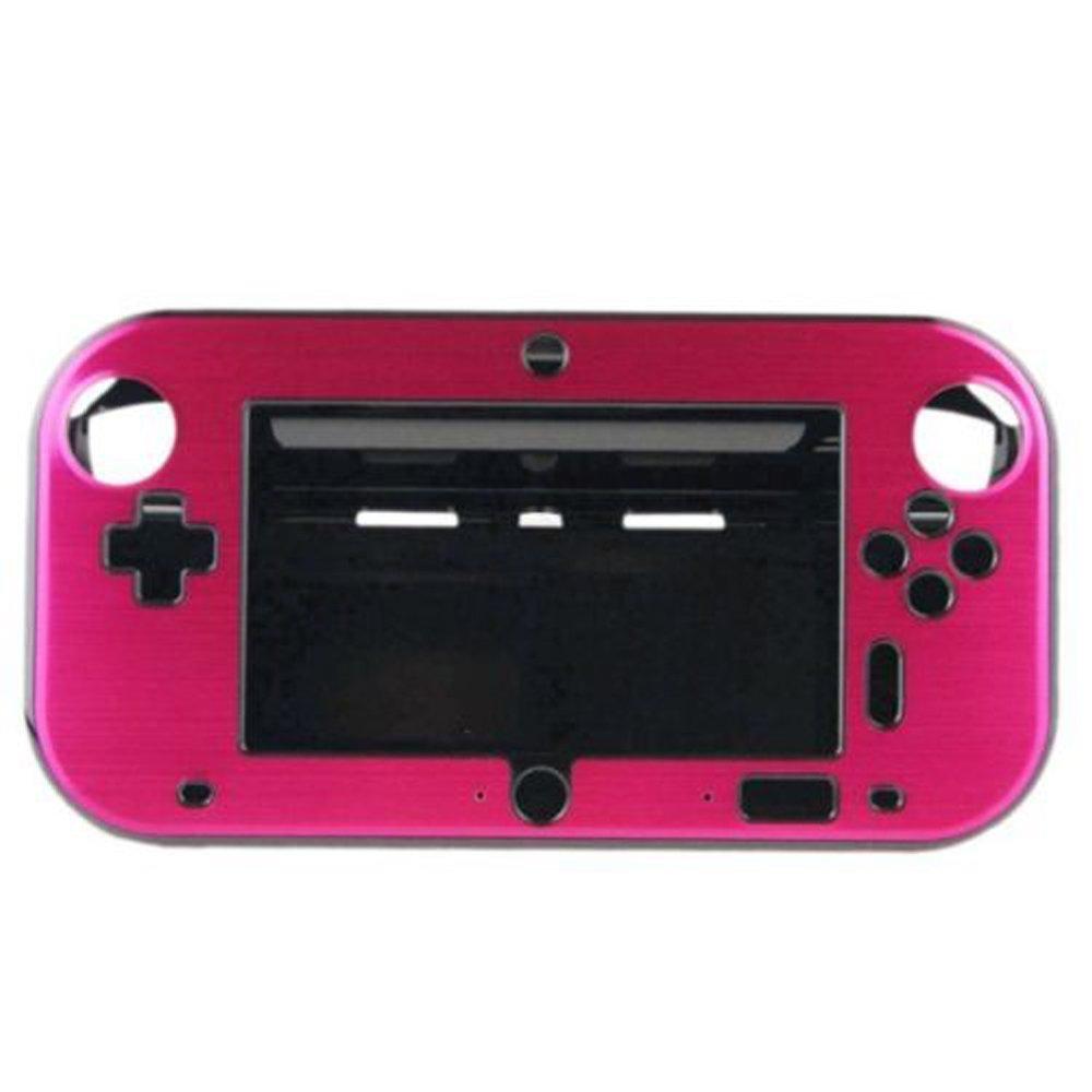 XFUNY(TM) Anti-shock Hard Aluminum Metal Box Cover Case Shell for Nintendo Wii U Gamepad Remote Controller-Rose Red
