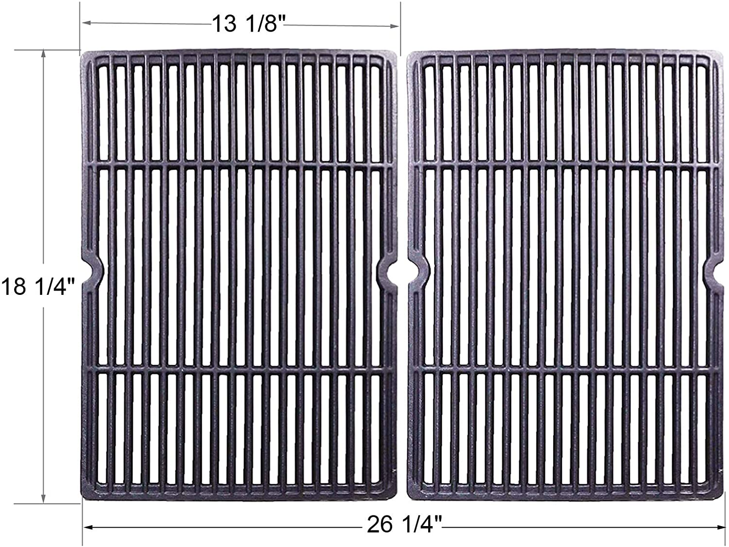 BBQ funland GI6652 Porcelain Coated Cast Iron Cooking Grid Replacement for Gas Grill Models by Char-Broil, Coleman, Kenmore, Thermos, Uniflame, CG-65P-CI, 18 1/4 inch, Set of 2