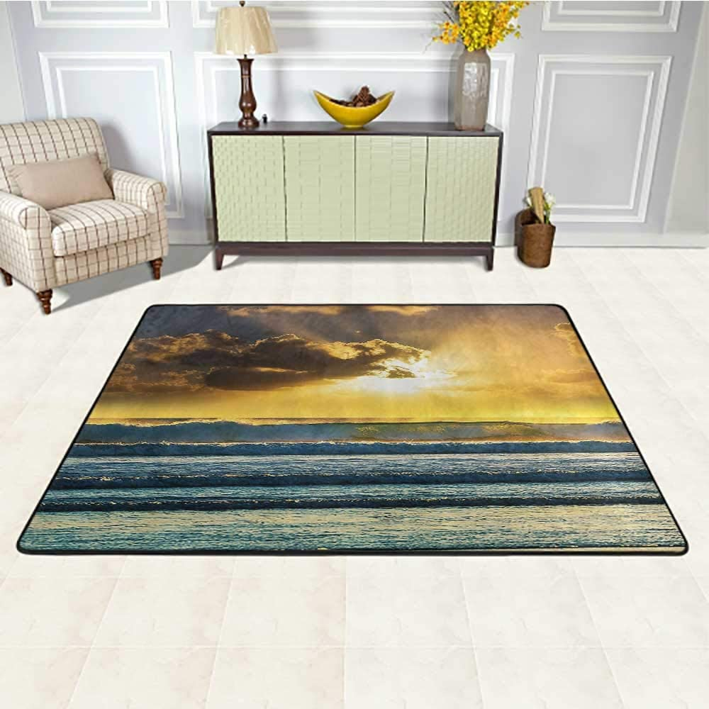 Ocean Decor Kids Area Rugs 2' x 3', Sunbeams Behind Grey Clouds Waves of The Sea at a Sunset Scenery Lofoten Norway Picture Kids Play Rug, ES LBlue Yellow