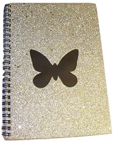 Michaels Fashion Glitter Confetti Journal ~ Silver with Butterfly (40 Sheets, 5.75