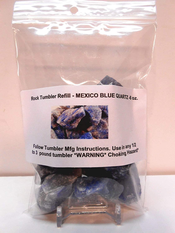 Rockhound's 1st Choice Rock Tumbler Gem Refill Kit -Mexico Blue Quartz Rough- 8oz