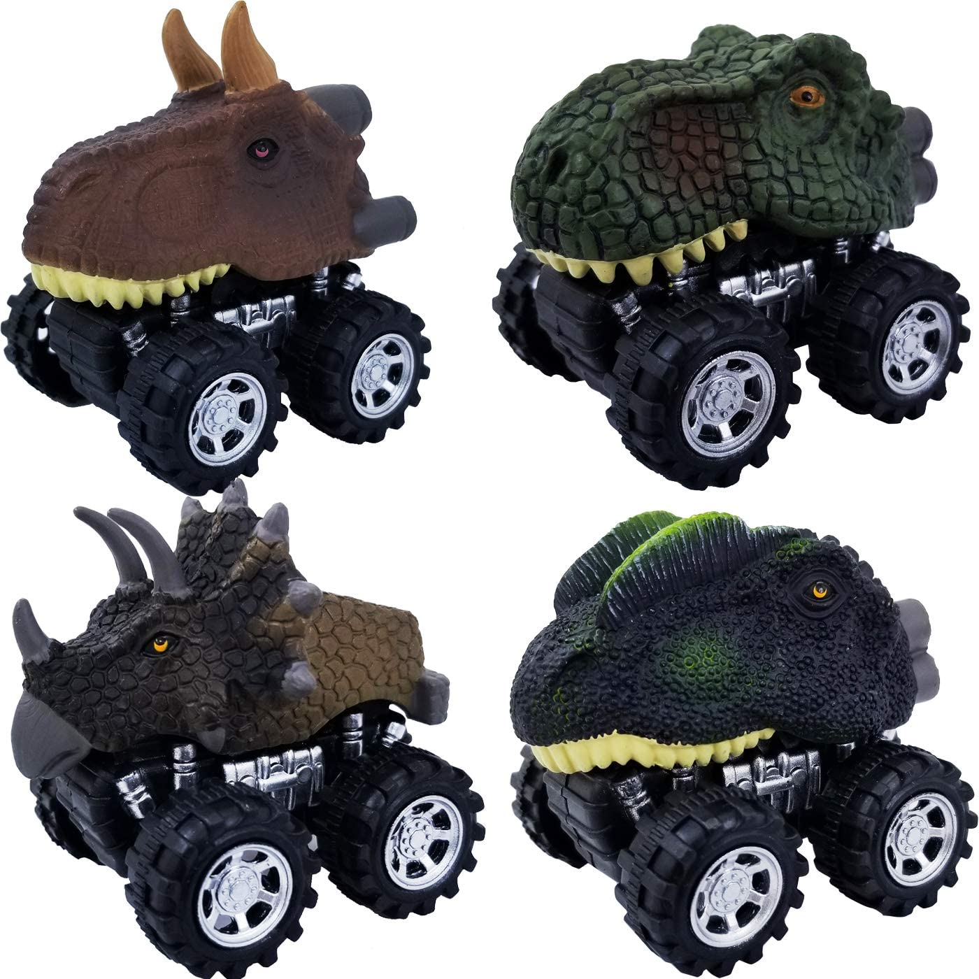 Tonmp Pull Back Dinosaur Car Toys,4 Pack Big Tire Wheel Vehicles Playset Dinosaur Toys Truck for Kids Toddlers (4 PCS)