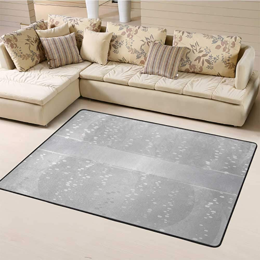 Grey Carpet 4' x 6', Vertical Wavy Lines with Festive Little Dots and a Bold Border Christmas Celebration Kids Carpet, Silver White