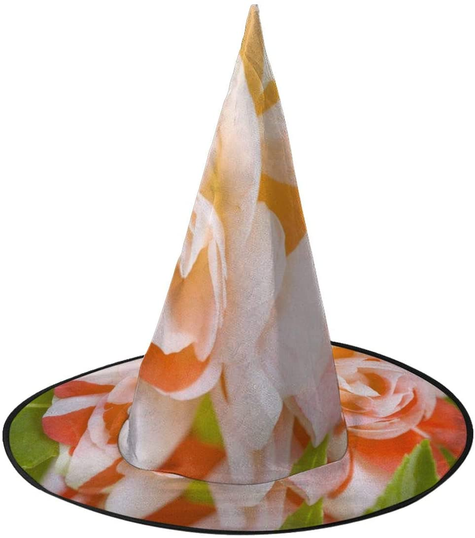 Halloween Witch Hat,Vector Red White Flower Halloween Costume Witch Hat for Holiday Party