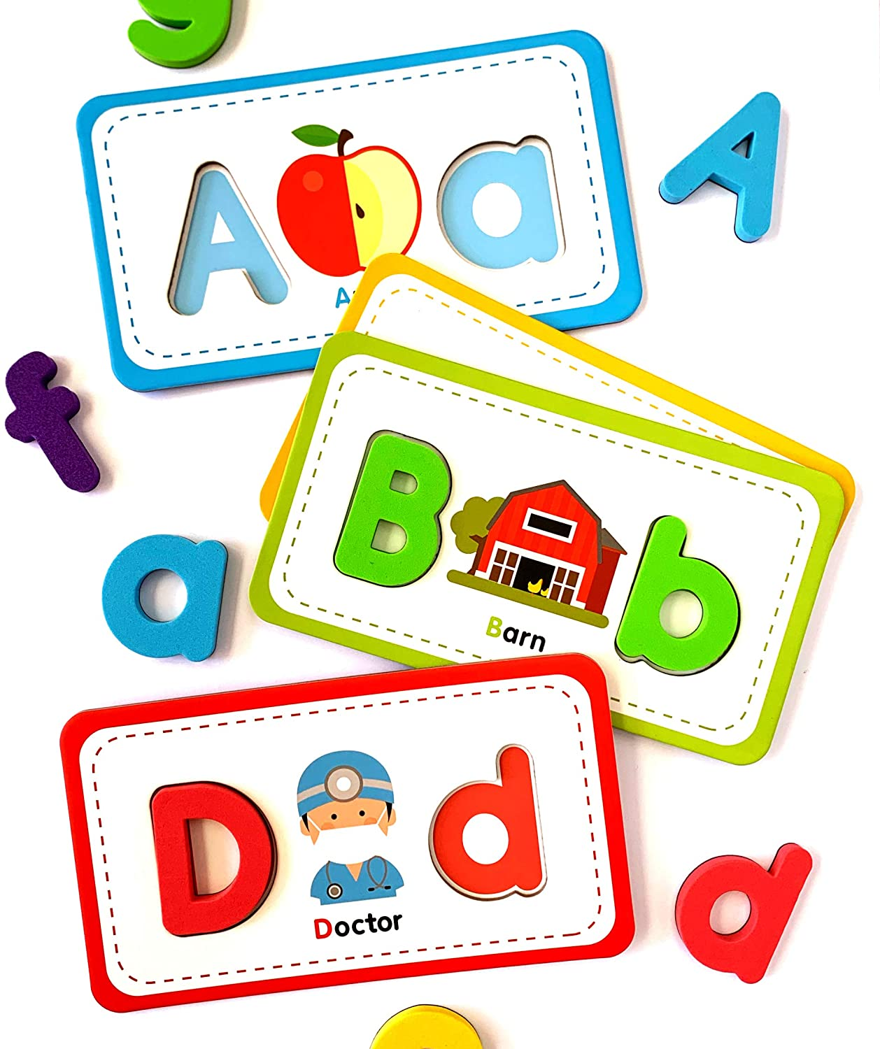 Curious Columbus Flashcards and Foam Letter Set. 26 Alphabet Flash Cards with 78 Magnetic Letters. ABC Toddler Games to Learn to Read, Spell and Practice Phonics.