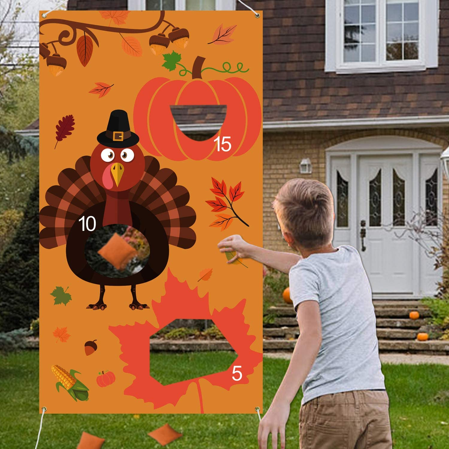 Tifeson Thanksgiving Games - Thanksgiving Bean Bag Toss Game with 3 Bean Bags for Kids Adults - Turkey Hanging Toss Game Banner Fall Thanksgivng Decorations Supplies