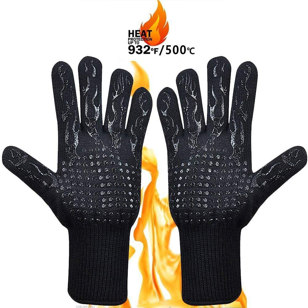 Wollet Oven Gloves, Hot BBQ Grill Gloves,1472°F Oven Mitts for Cooking, Grilling, Kitchen, Smoker Baking, Barbecue, Fireplace, Welding, Cutting 1 Pair (Black)