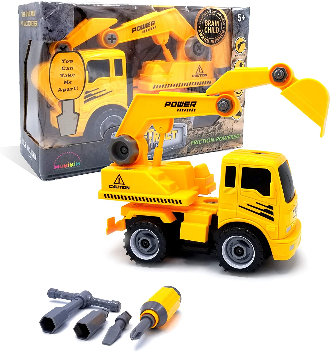 MukikiM Construct A Truck - Excavator. Take it apart & put it back together + Friction powered(2-toys-in-1!) Awesome award winning toy that encourages creativity! …