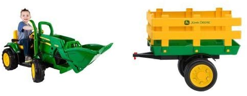 Peg Perego John Deere Green Ground Loader Ride On with Green Stakeside Trailer Ride-On Bundle