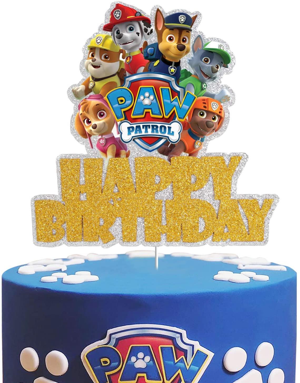 Dog Paw Patrol Happy Birrthday Cake Topper - Claw Dog Patrol Party Cake Decor,Children's Birthday Baby Shower Party Supplies High Quality