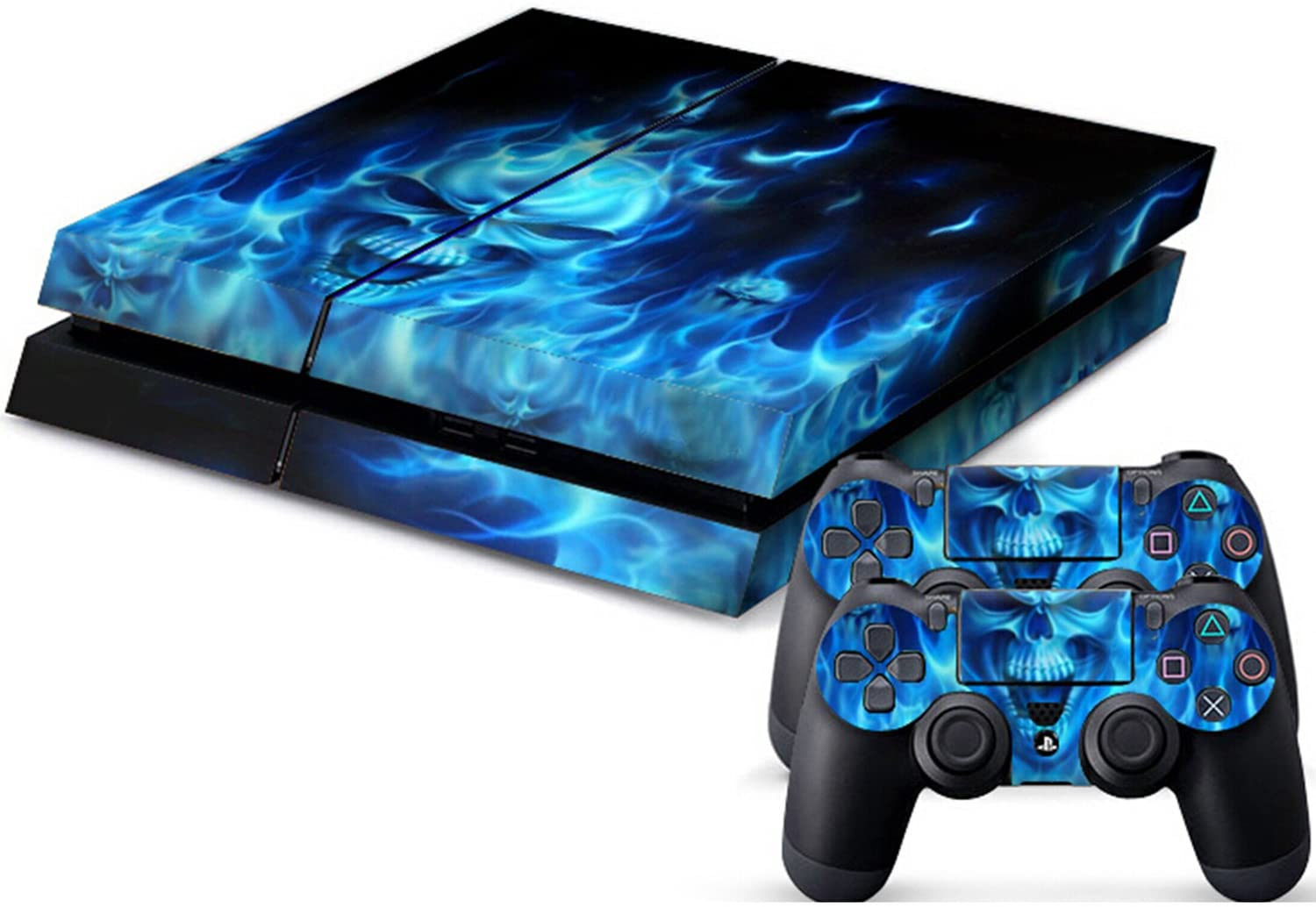 Vinyl Decal Protective Skin Cover Sticker for Sony PS4 Console And 2 Dualshock Controllers Skull Style
