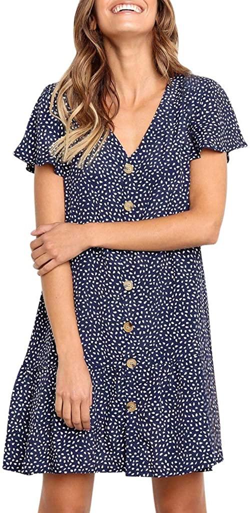 Shakumy Women Polka Dot Short Sleeve Button Down Tunic Mini Dress Casual Loose Summer Ruffle V Neck Tops Shirts Short Dress
