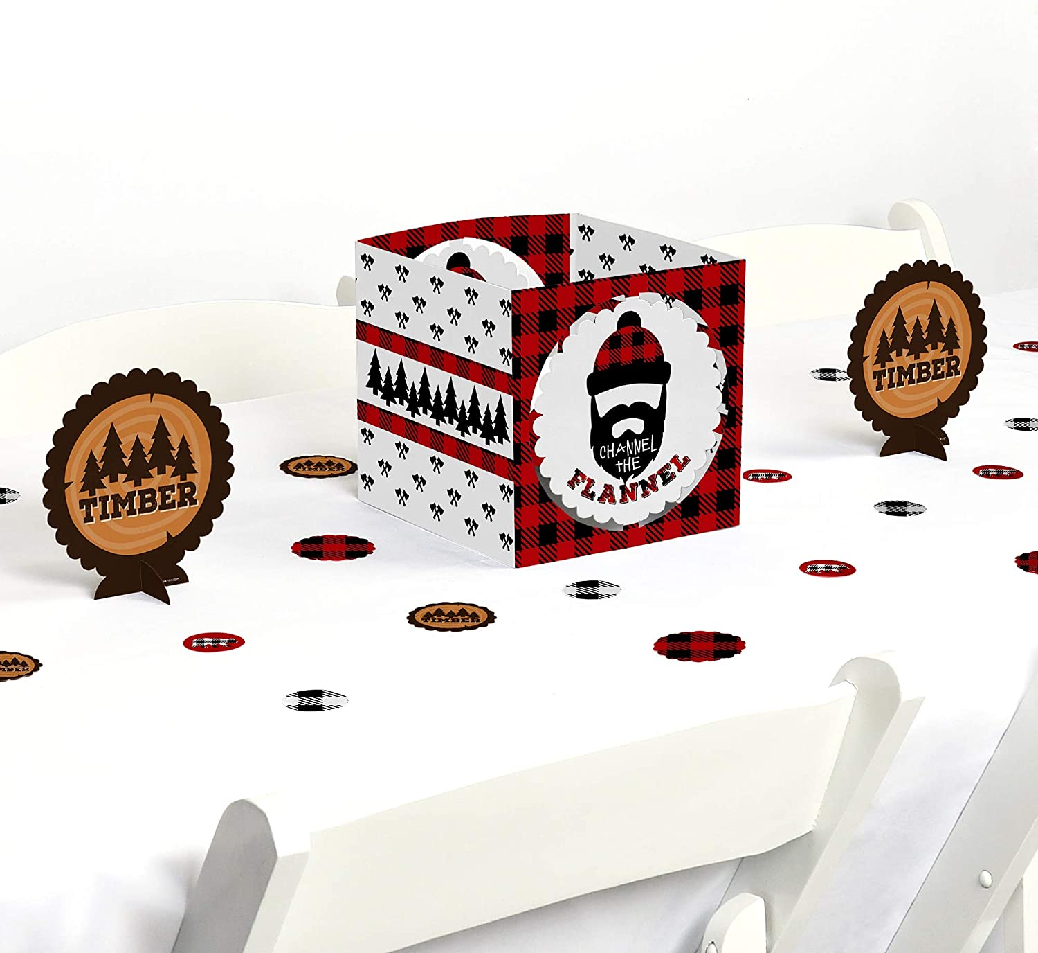 Big Dot of Happiness Lumberjack - Channel the Flannel - Buffalo Plaid Party Centerpiece and Table Decoration Kit