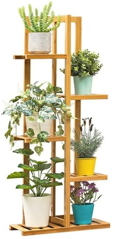 QNN Plant Stands,Pot Rack Wooden Flower Stand Multi-Tier Plant Flower Pots Display Holder(7 Tier 8 Pots )Indoor Outdoor Use Storage Rack for Living Room Decorative Flower Pots,Khaki,45Cm22Cm103Cm