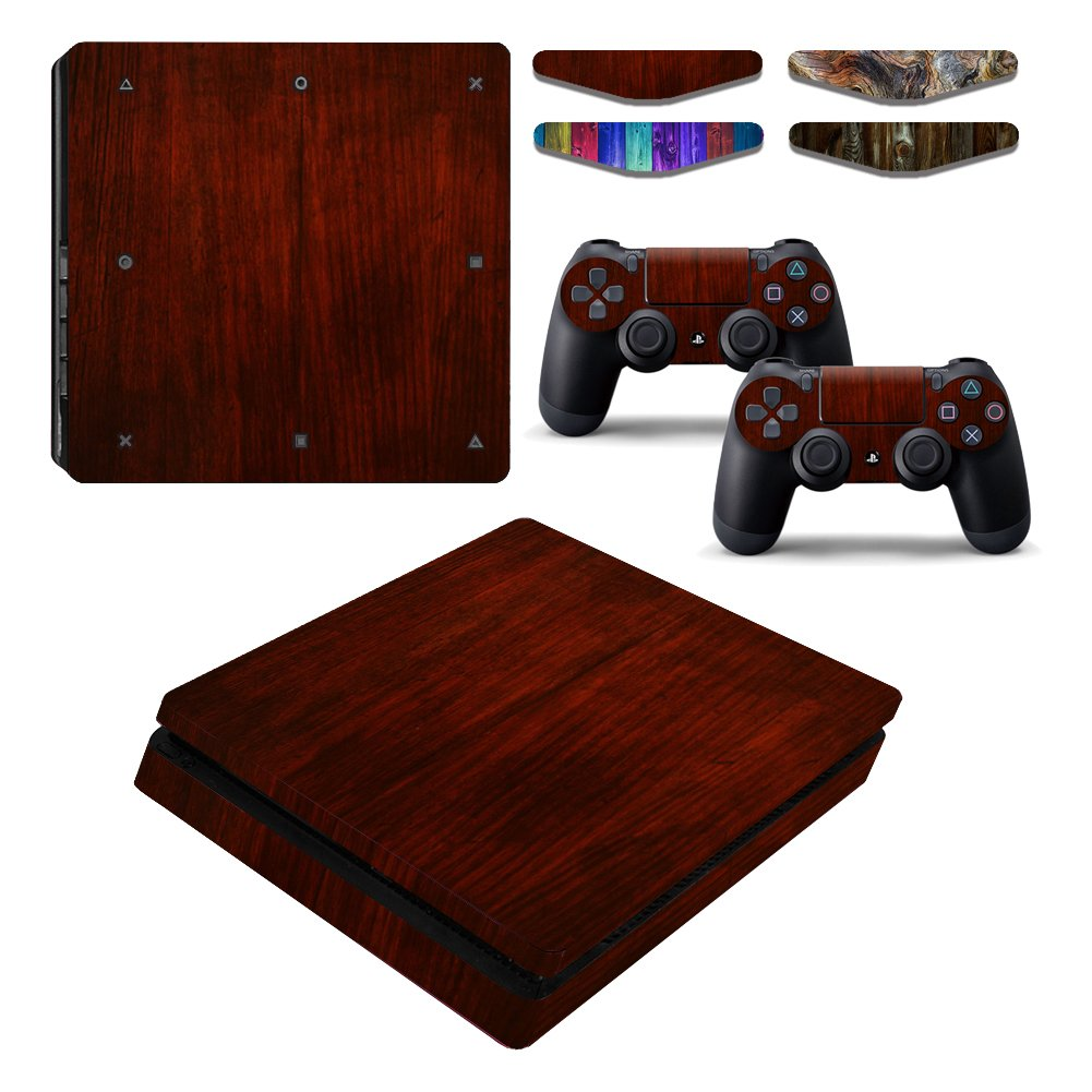 Wood Grain Vinyl One PS4 slim Console Skin & Two Play Station 4 Slim DualShock 4 Controller Decal Cover & Four LED Light Bar Stickers for Sony Playstation 4 Slim