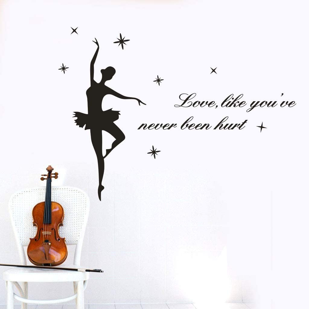 Zlolia Ballet Dancer Silhouette Wall Stickers Decoration Trick Game Bedroom Wall Decal Removable Vinyl Home Decor Dance Room Stickers