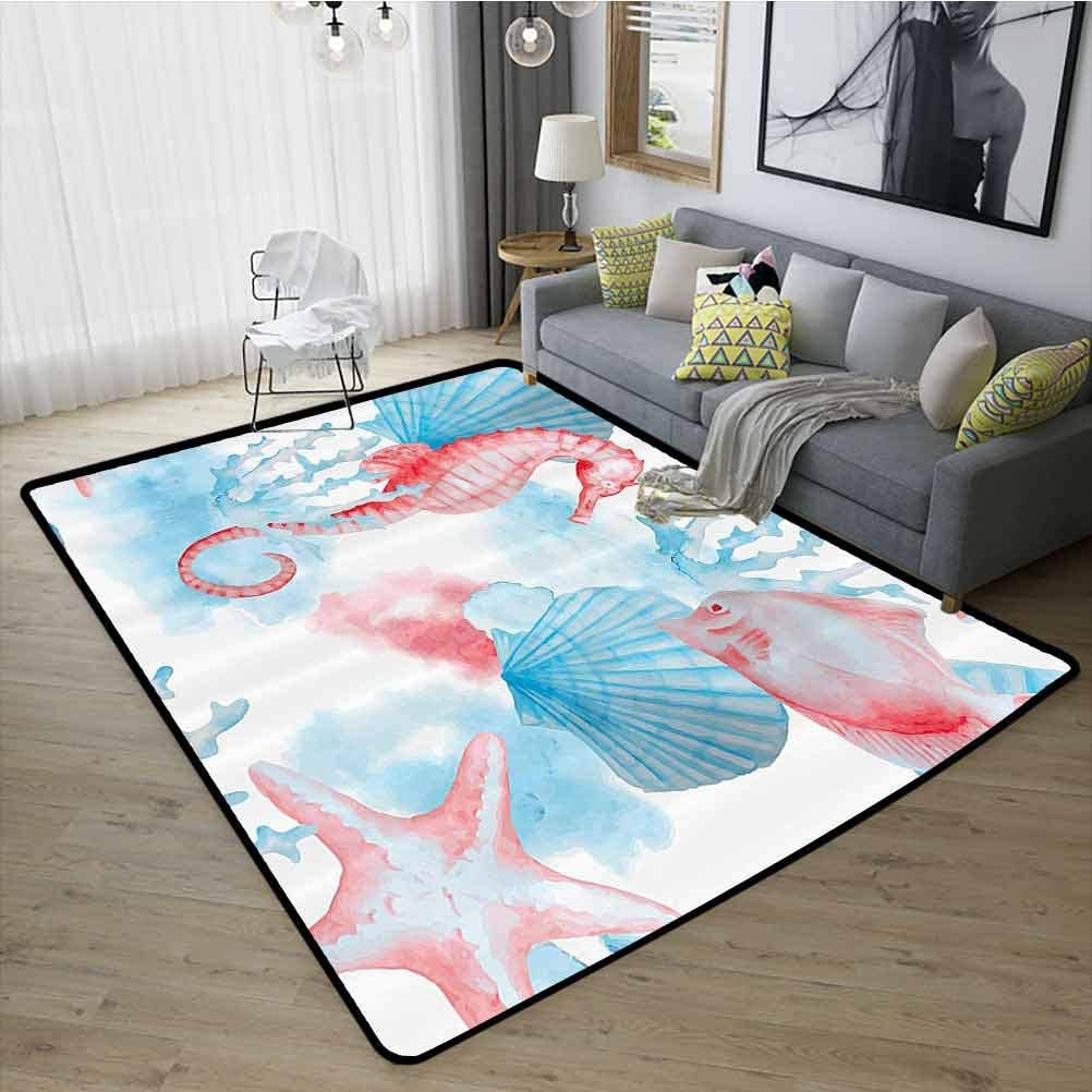 Nautical Decor Collection Bedroom Rugs, Super Soft Indoor Modern Easy Clean Rubber Back for Children Boys Girls Bedroom Rugs, W29 x L39 Coral Blue White