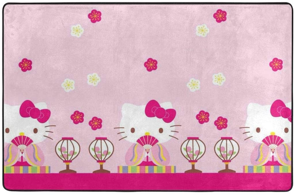 Large Soft Flannel Area Rug Anti- Skid Hello Kitty Carpet Bedroom Kids Room Mat Home Decor- 60 X 39 in