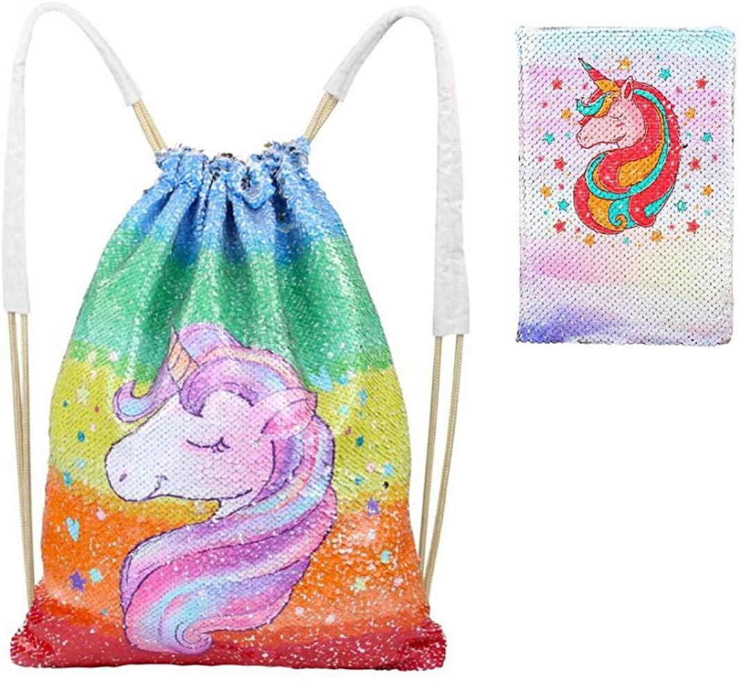 Zcoins Sequin Unicorn Bag Reversible Sequin Drawstring Bag and Sequin Notebooks A5 Diary Gift for Kids and Teens