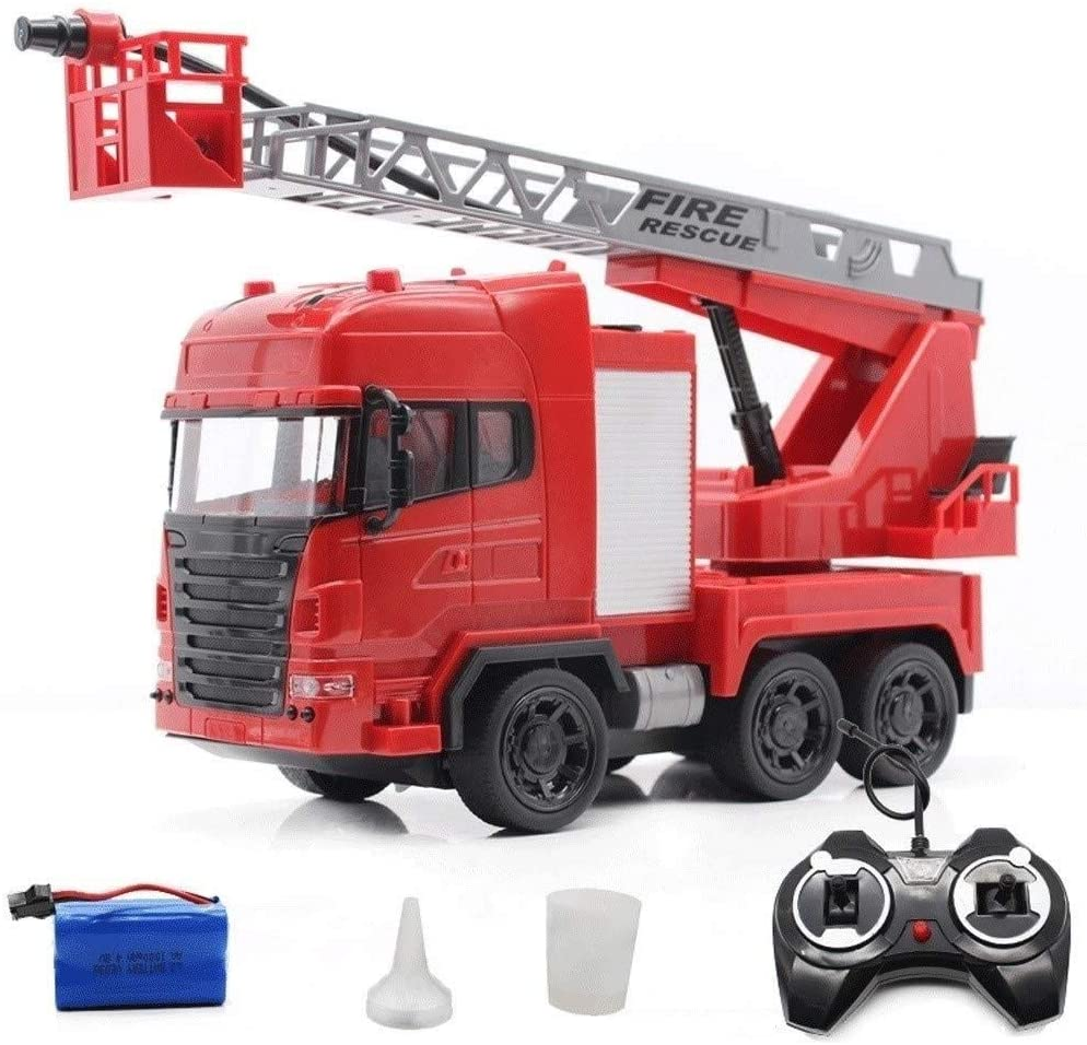 Xuess Educational Toys Gift Fire Engine Truck Shock Resistance Toy RC Car Real Splashing Water Pump and Extending Ladder Flashing Lights Sirens Bump and Go Action