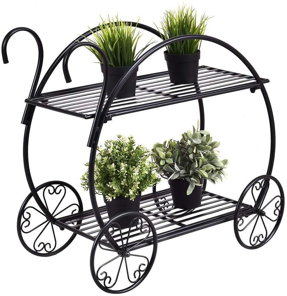 Garden Cart Stand Metal Plant Stands Flower Pot Plant Holder 2 Tier Display Rack for Home Decor Outdoor Indoor