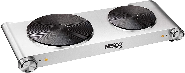 Nesco DB-02 Stainless Steel Double Electric Burner, 1800-watt