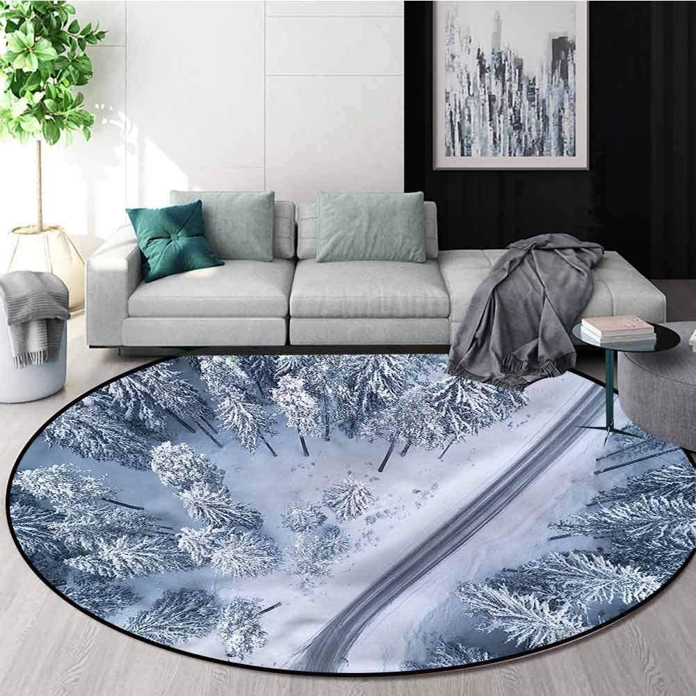 RUGSMAT Scenery Modern Machine Washable Round Bath Mat,Winter Themed Landscape Non Slip Rug Round-39