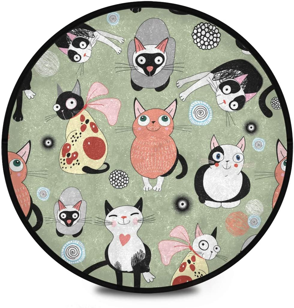 Shaggy Round Mat Cute Animals Small Round Rug for Kids Living Room Anti-Slip Rug Room Carpets Play Mat