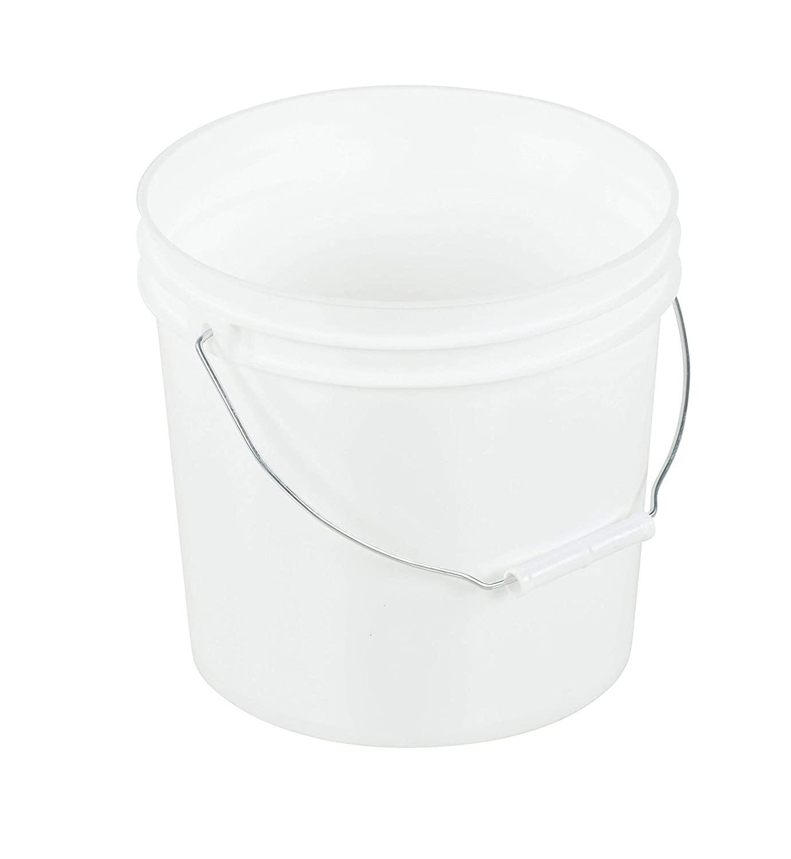 Vestil PAIL-35-PWS White 3-1/2 gal Plastic Pail with Steel Handle, 11-13/16