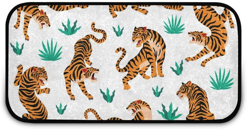 Rectangle Shaggy Rug Indoor Doormats for Kids Tigers Tropical Leaves Indoor Anti-Slip Rug Rectangle Carpet Play Mat