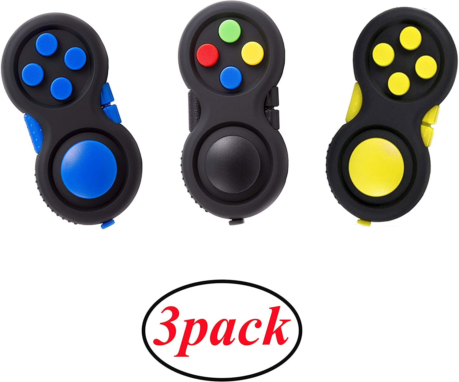 glacely 3pack Fidget Pad - 9 Fidget Features Perfect for Skin Picking, ADD, ADHD, Anxiety and Stress Relief Prime Ready and Shipped by DHgate(Colorful、Yellow、Blue