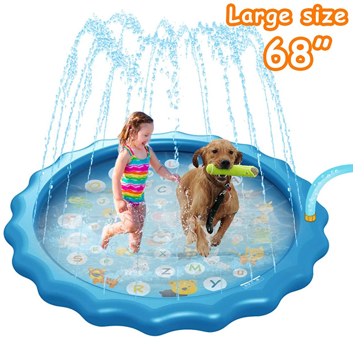 """Wrystte Kids Inflatable Pool with Sprinkler, Splash Pad Swimming Pool for Kids Learning, 68"""" Outdoor Inflatable Water Toys for Babies and Toddlers Age 1 2 3 4 5 6 7 8"""