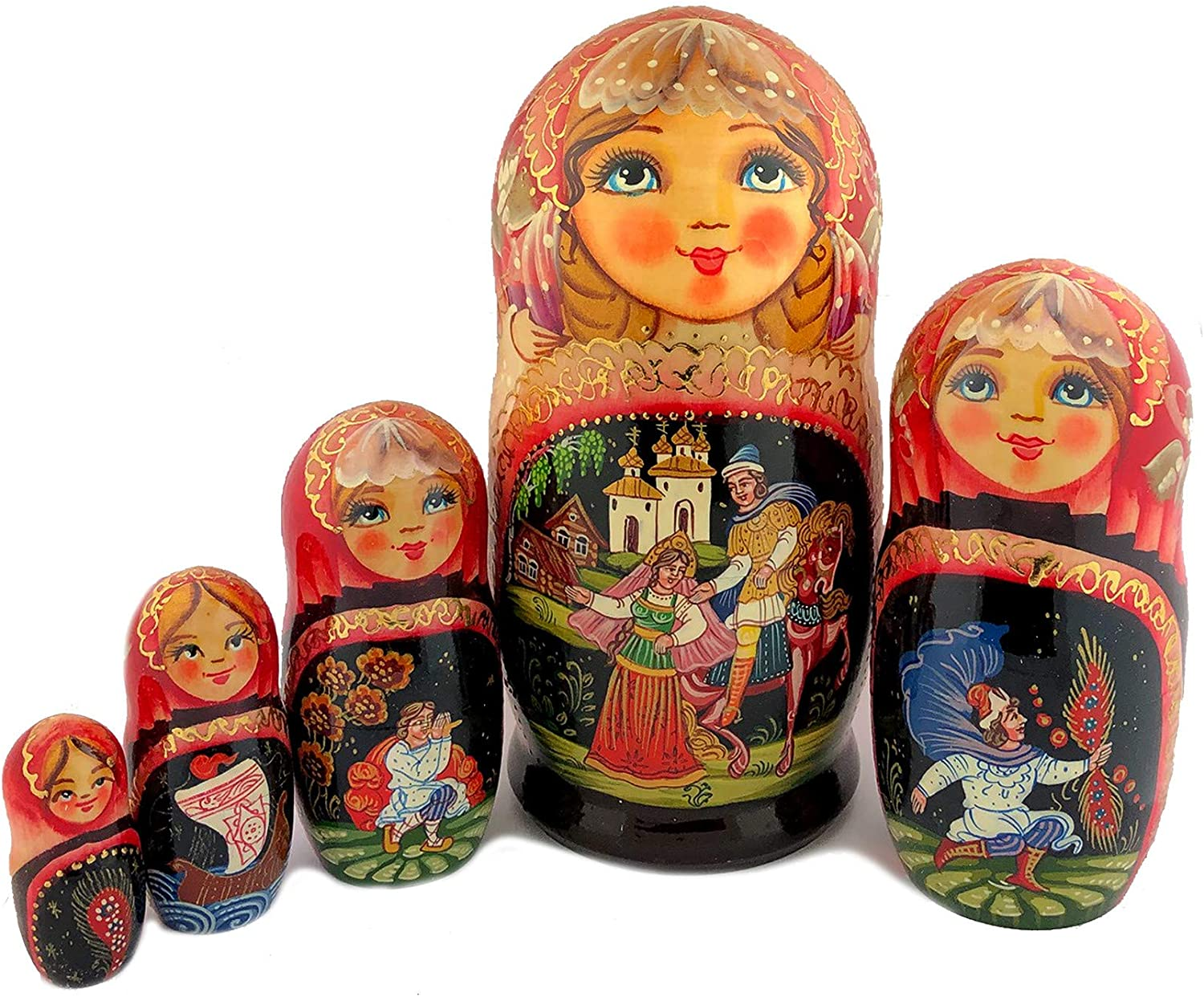 Catholic & Religious Russian Hand Painted Matryoshka Assorted Fairy Tales 5 Nested Doll 7 Inch