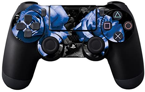 MightySkins Skin Compatible with Sony PS4 Controller - Blue Roses | Protective, Durable, and Unique Vinyl Decal wrap Cover | Easy to Apply, Remove, and Change Styles | Made in The USA