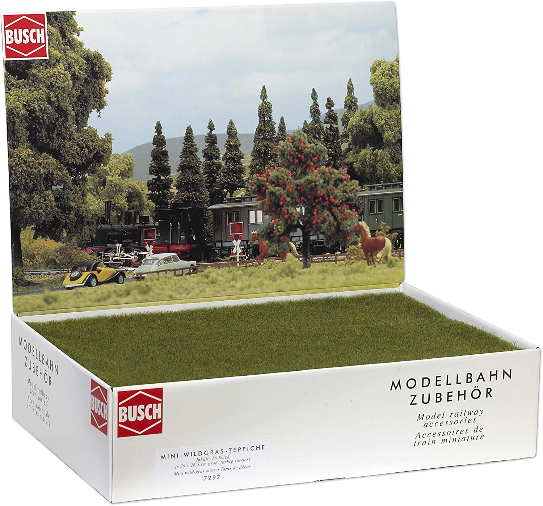 Busch 7292 Mini Wild-Grass Mats 16/ HO Scenery Scale Model Scenery