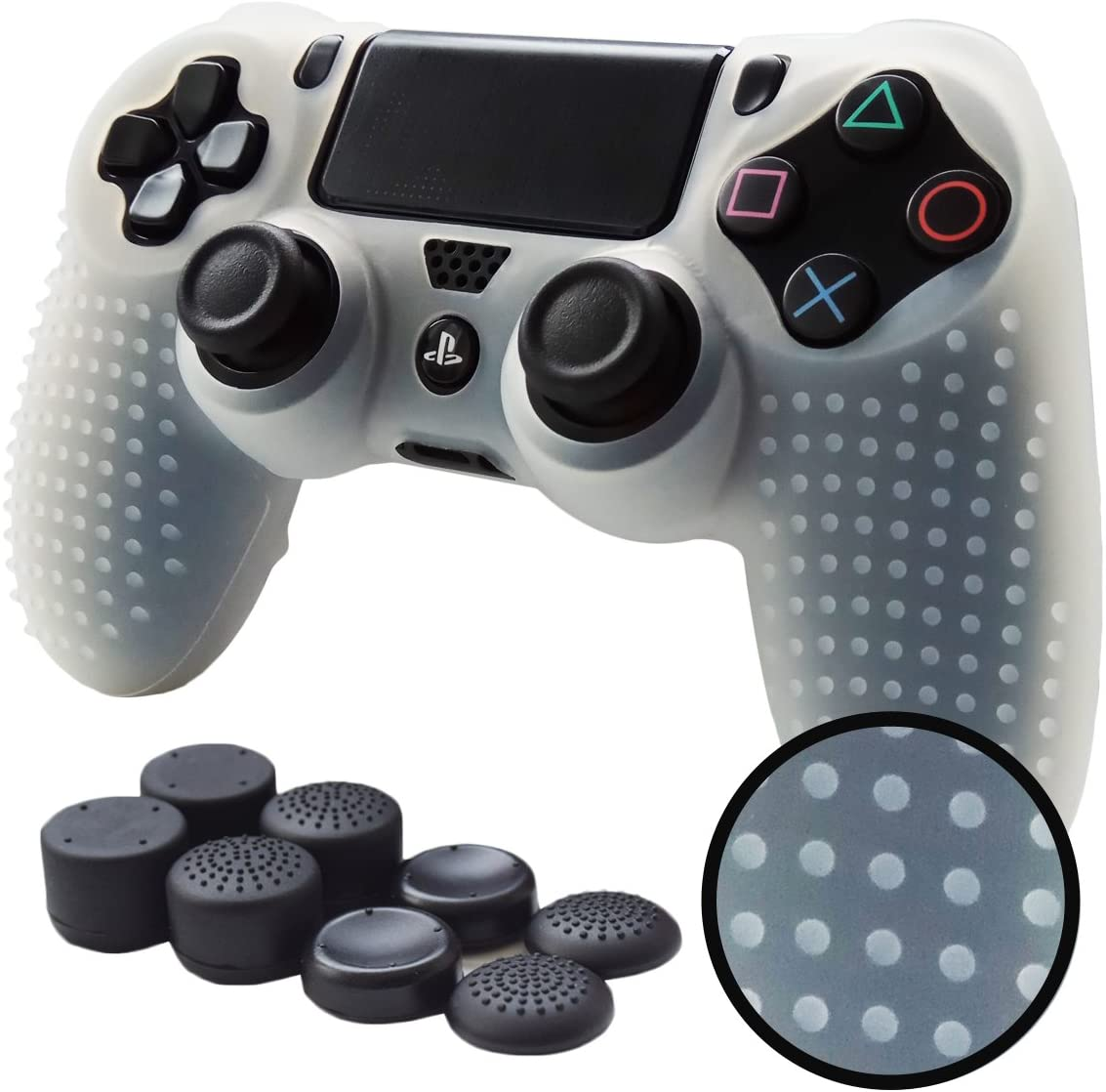 PS4 Controller Grips,Pandaren Studded Anti-Slip Silicone Cover Skin Set Compatible for PS4 /Slim/PRO Controller(White Controller Skin x 1 + FPS PRO Thumb Grips x 8)